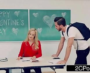 Hot teacher brandi love despairing for v-day jock
