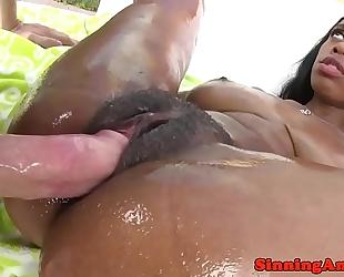 Ebony pornstar gangbanged after titfuck outdoors