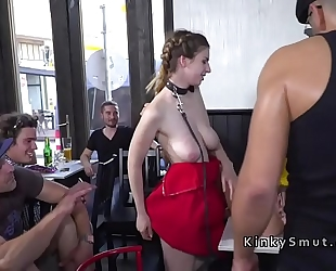 Busty nude tits thrall unfathomable face holes in public