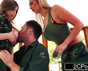 Tough soldier whores lexi lowe & stella cox are willing for any schlong