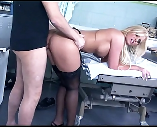 Big boobed blond fucking in hot dark stockings