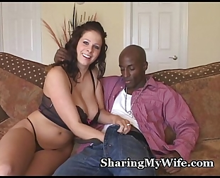 Busty wifey devours massive pecker