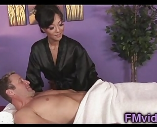 Asian honey asa akira engulfing knob after massage