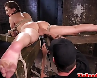 Busty sadomasochism sub bound up and muff fingered