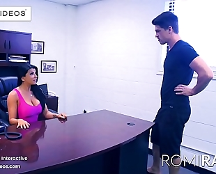 Romi rain the breasty secretary in the office is a slutty whore!