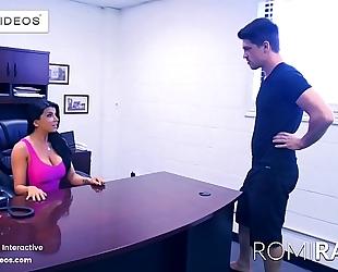 Romi rain the breasty secretary in the office is a slutty whore!