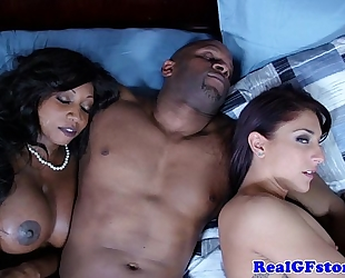 Ebony slutty wife and ally cum swapping