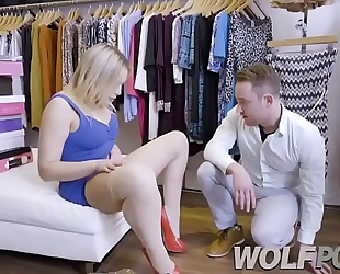 Horny saleswoman blair williams show me her twat when i consult prices