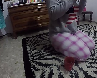 The student who takes a breath and masturbates on the living room rug