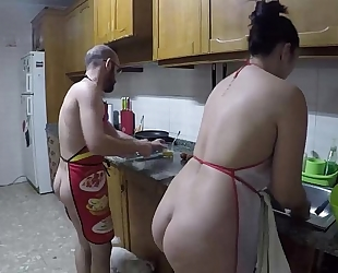 Nudist cuisine and screwed in the kitchen