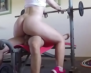 They fuck on the weight machine and that guy cums on her milk sacks. san089
