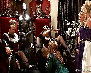 King and queen have a medieval fuckfest with four sexy strumpets