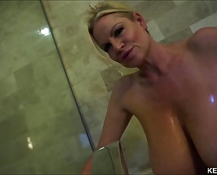 Big titty milf kelly madison takes her tatas for a washroom