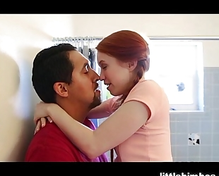 Tiny redhead drilled hard by fest allies daddy