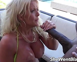 Big tit milf anal drilled by dark weenie by the pool