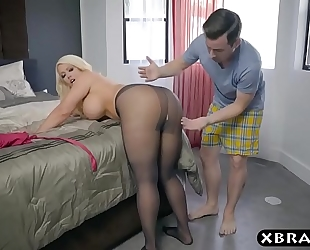 Bbw stepmom is sexually excited and craves a juvenile ramrod in her large butt