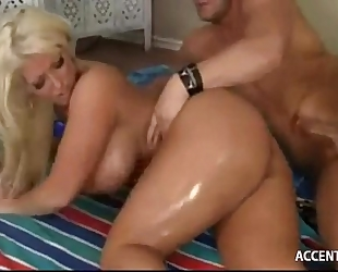 Busty blond milf acquires her large wazoo nailed