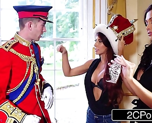 Big tit maid aletta ocean and lustful tourist madison ivy engulf british royal rod