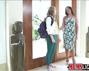 Sexy blond legal age teenager lily receives drilled by concupiscent milf yasmin