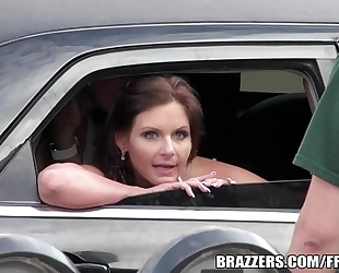Pair of brazzers cuties drive around in a limo and chat during the time that fucking