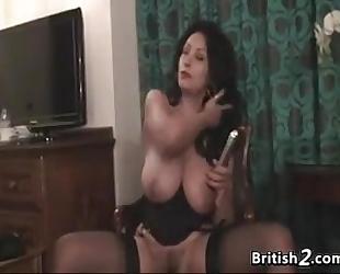 Thick british woman disrobes and masturbates