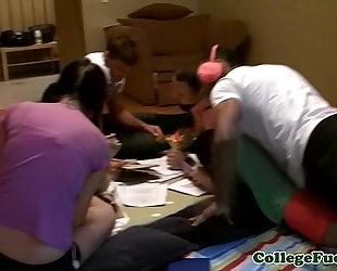 College legal age teenagers fucking on a study break