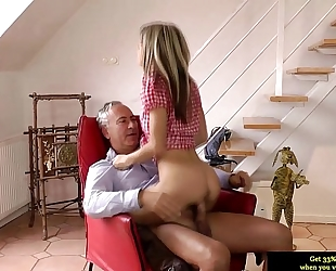 Teen glamour non-professional riding on old guy penis