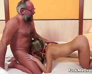 Lucky old bastard bangs sweet slutwife