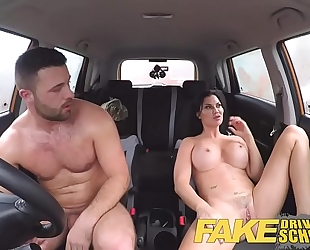 Fake driving school favourable juvenile boy tempted by his breasty milf examiner
