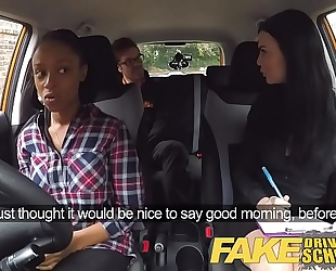 Fake driving school breasty dark black cock sluts fails test with lesbo examiner