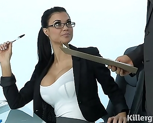 Sexy milf jasmine jae plays the office bitch addicted to hard dick