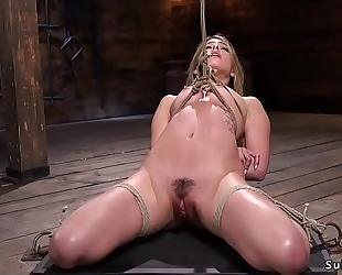 Gagged golden-haired in slavery feet tormented
