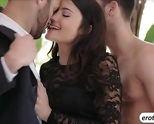 Beautiful sweetheart adria rae is treated with a trio sex