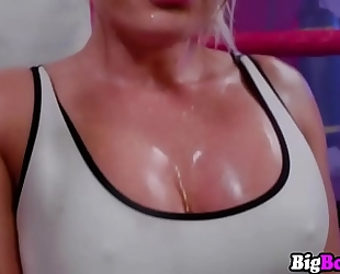 Cali carter fitness figure and large bazookas defeat a large pecker