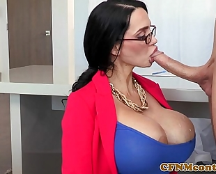 Busty milf femdom sucks previous to fucking sub