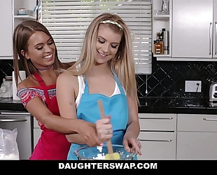 Daughterswap - sexy lesbo teenies fuck around in advance of dads acquire home