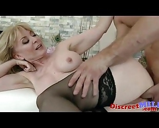 Guy copulates her well mature slit