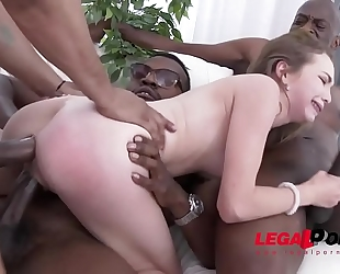 Incredible diminutive whore angel smalls - interracial double anal - no words!!