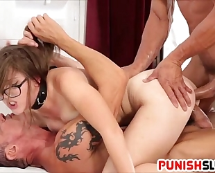 White gal nickey huntsman receives cocks in the one and the other holes