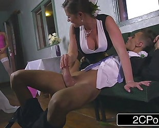 Slutty bridesmaid mea malone and concupiscent mother-in-law cathy heaven give oral job