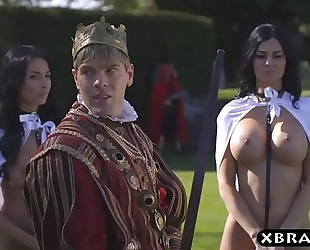 King bonks his breasty lustful servants jasmine and anissa