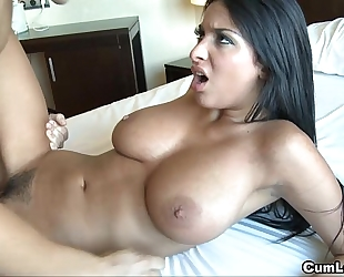 Anissa kate jerks a schlong with her biggest boobies