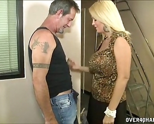 Hot breasty milf jerks off a aged guy