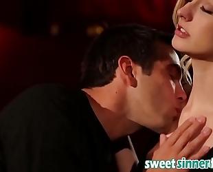 Sweet model golden-haired cheating wife fleshly romantic date night