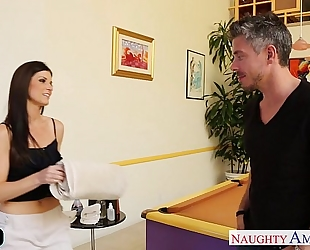 Slim chick india summer massaging a large penis