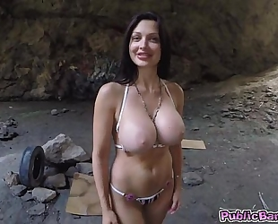 Aletta ocean sucks wang and receives anal screwed in cave!