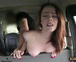 Charming redhead ella gets a decent banging inside the cab