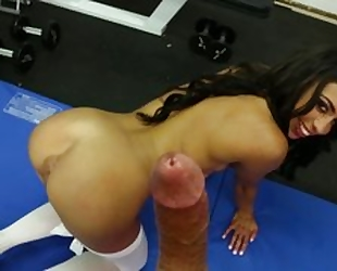 Latina in stockings sucking cock in great blowjob saga with cumshot