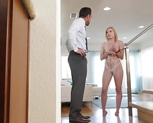 Sweet blondie with natural tits gets her eager cunthole eaten dry