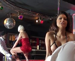 Three whorish strippers having steamy group sex on the stage